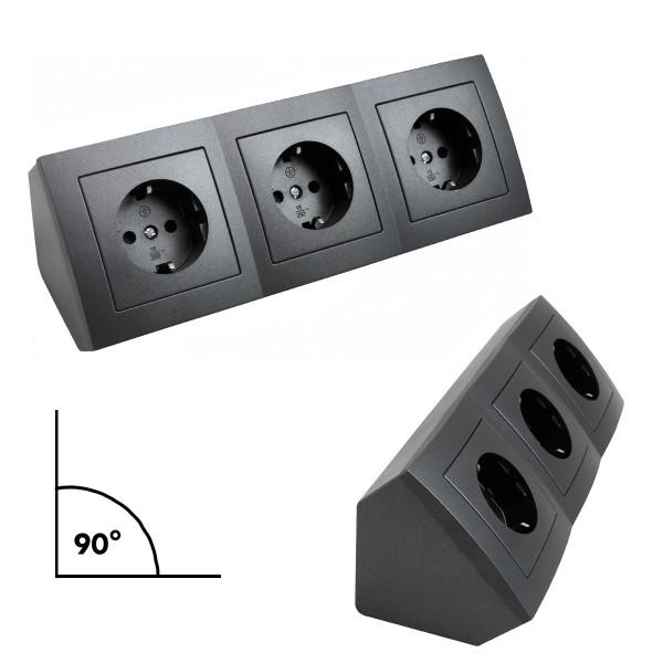 Steckdosenblock 3fach schwarz - Winkelmontage - Ideal für Küche, Werkstatt und Büro