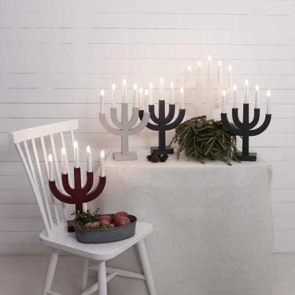 """Kerzenleuchter """"Selma"""" - 5 Arme - warmweiße Glühlampen - H: 40cm, L: 25cm - Schalter - Weiß"""