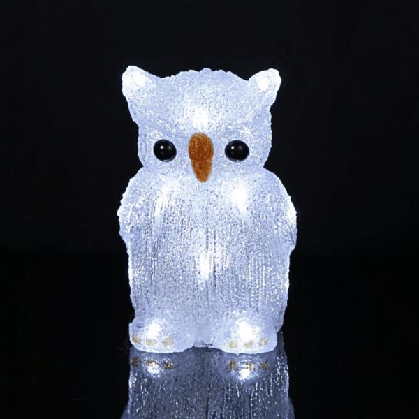 "LED-Acryleule ""Crystal Owl"" - 16 kaltweiße LED - H: 20cm - batteriebetrieben - Timer"