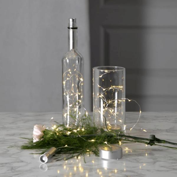 """LED Lichterkette """"Korken"""" - Flaschenverschluss - 15 warmweiße LED - 0,75m - Batterie - Timer - silbe"""