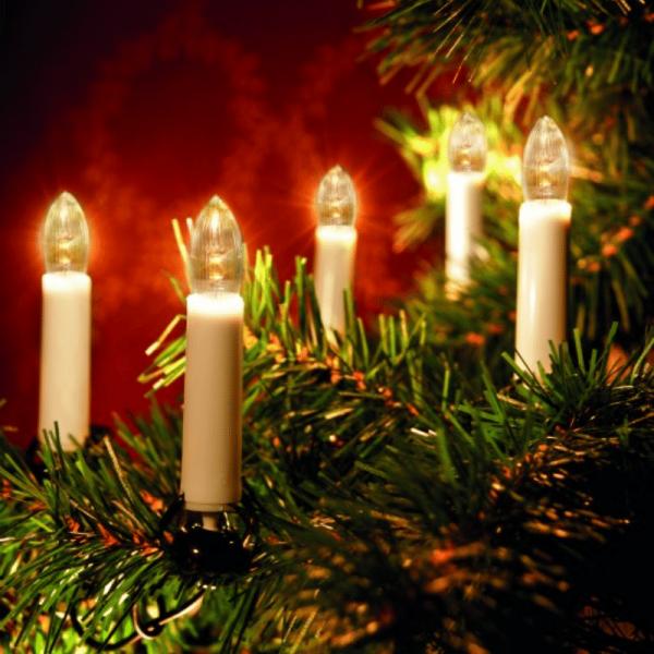 LED-Kerzenkette - 25 warmweiße LED - Indoor - Strang - H: 11cm, L: 16,8m - grünes Kabel - weiß
