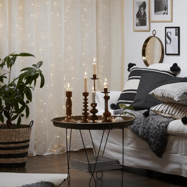 """LED Lichtervorhang """"Dew Drop"""" - 200 weiße LED - 1x2m - 10x silberner Draht - Trafo"""