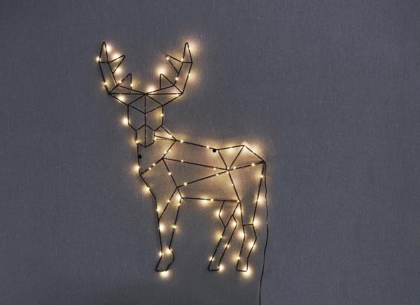 """LED-Design-Rentier """"Cupid"""" - 70 warmweiße LED - H: 70cm, B: 50,5cm - zum Hängen - schwarzes Metall"""