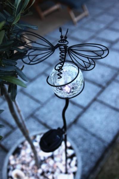 LED-Solar - Gartenstab Libelle - 85cm x 9xm - Edelstahl