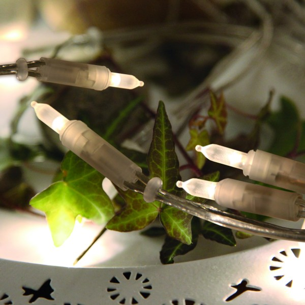 LED Mini Lichterkette Pisello - 20 warmweiße LED - L: 2,85m - transparentes Kabel - indoor