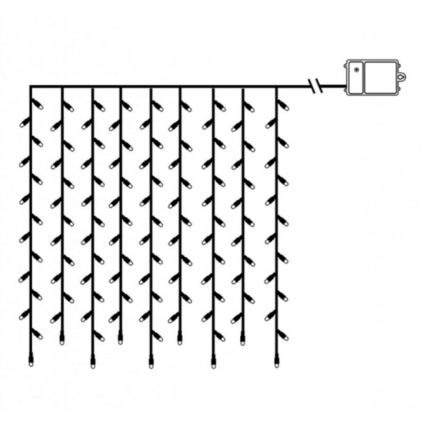 LED-Lichtervorhang - Dura Line IP44 - Batterie - Timer - 1,10 x 1,00m - 120x Warmweiß - Transparent