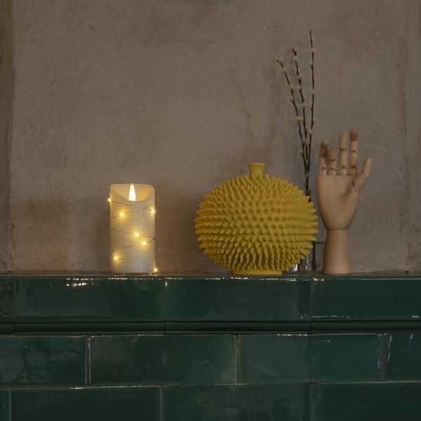 LED Kerze - Echtwachs - mit silberfarbenem Draht - 3D Flamme - Timer - H: 13,5cm - D: 7,5cm - creme