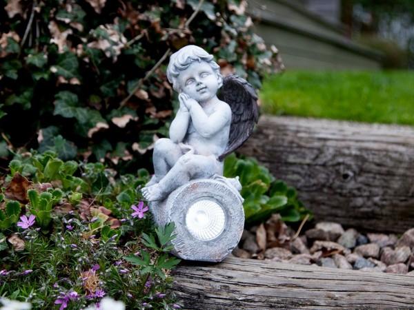 Gartenfigur | Solar | Engel | 11cm x 23cm | 1 LED | 6 Stunden Leuchtdauer | mit Lichtsensor
