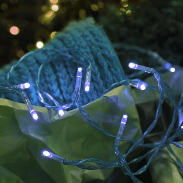 LED-Lichterkette | TRENDLITES | Indoor | Batterie | Timer | 2.10m | blaues Kabel | 15 blaue LED