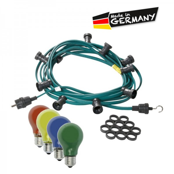 Illu-/Partylichterkette 10m | Außenlichterkette | Made in Germany | 10 x bunte 25W Glühlampen
