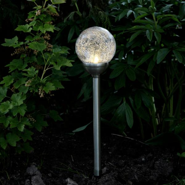 """LED Solarkugel """"Roma"""" - Gartenleuchte mit Solarpanel - H: 45cm - Dämmerungssensor - warmweiß"""