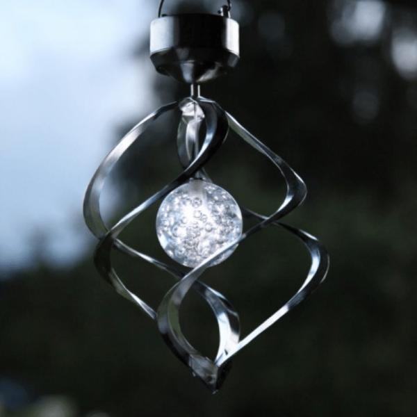 LED-Solar-Windspiel - Windmühle - Silber - Dämmerungssensor - drehend und leuchtend