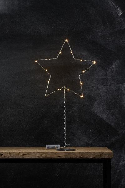 "LED-Metallstern ""Sparkling"" - 15 warmweiße LEDs - H: 60cm - Batteriebetrieb - Timer - silber"