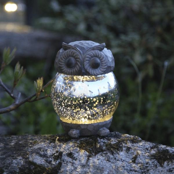 """LED Solar Deko """"Eule"""" - warmweiße LED - H: 13cm, D: 10cm - Dämmerungssensor"""