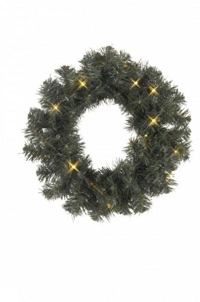 LED-Weihnachtskranz - Ottawa Line Outdoor - 16x Warmweiß - 0,38m - Grün