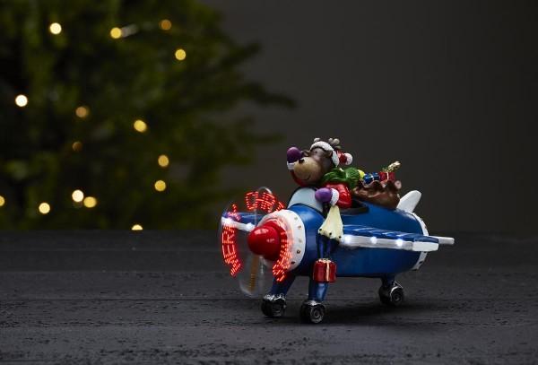 """LED-Weihnachtszene Kidsville - Rentier im Flugzeug - warmweiße LED - """"Merry Christmas auf Propeller"""""""