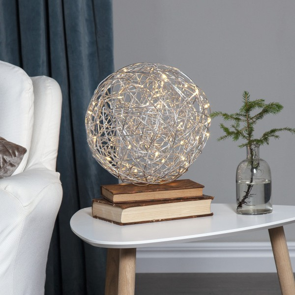 LED 3D Designkugel TRASSEL - D: 30cm - 50 warmweiße LED - Indoor & Outdoor - aus Silberdraht