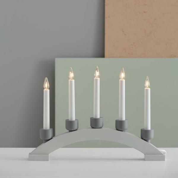 """Lichterbogen """"Paint Stone""""- 5flammig - 5 warmweiße Glühlampen - L: 41cm, H: 28,5cm - Holz - grau"""