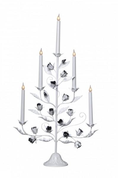 Kerzenleuchter ROSETTA - 5-armig - warmweiße Lampen - H: 79cm - Schalter - Alt-Weiß