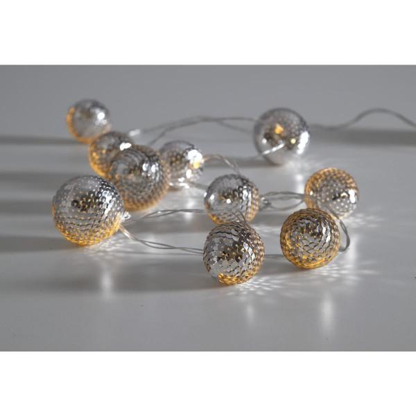"""LED-Lichterkette """"Flake"""" - 10 silberne Kugeln an 1,35m transparentem Kabel - Batterie - Timer"""