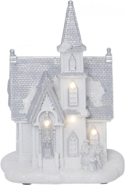 "LED-Kirche ""Chapel"" - 4 warmweiße LEDs - weiß - ↑18cm"