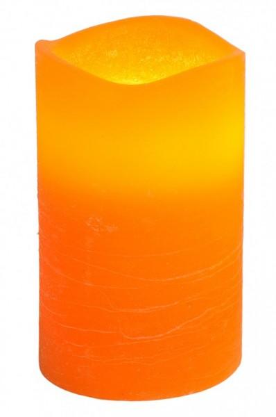 LED-Kerze | Echtwachs | May-Design | flackernde LED | Timer | Weiß | →7.5cm | ↑12.5cm | Orange