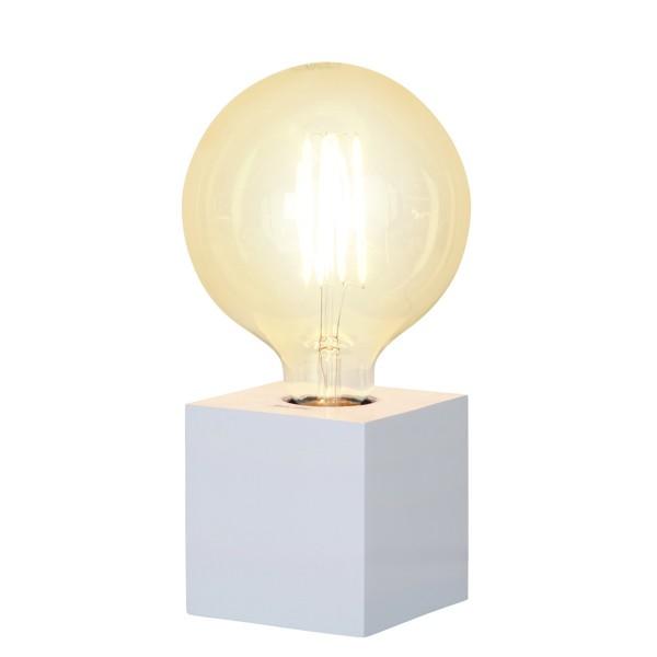 Lampenhalterung KUB - Tischleuchte - E27 - H: 9cm - stehend - Kabel mit Schalter - Holz - weiß