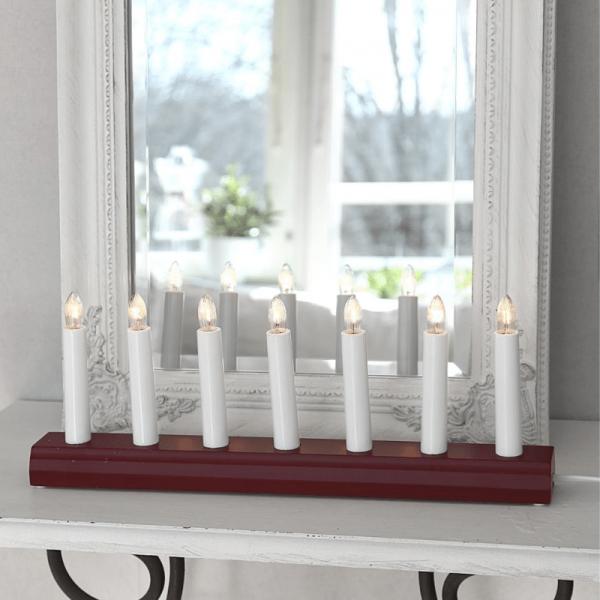 Fensterleuchter IDA - 7 warmweiße Birnchen - L: 39cm, H: 15cm - Schalter - Rot
