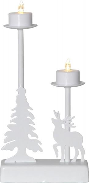 """LED-Leuchter """"Walder"""" - 2 flammig - warmweiße LEDs - L: 13cm, H: 27cm - Timer - Batterie - weiß"""