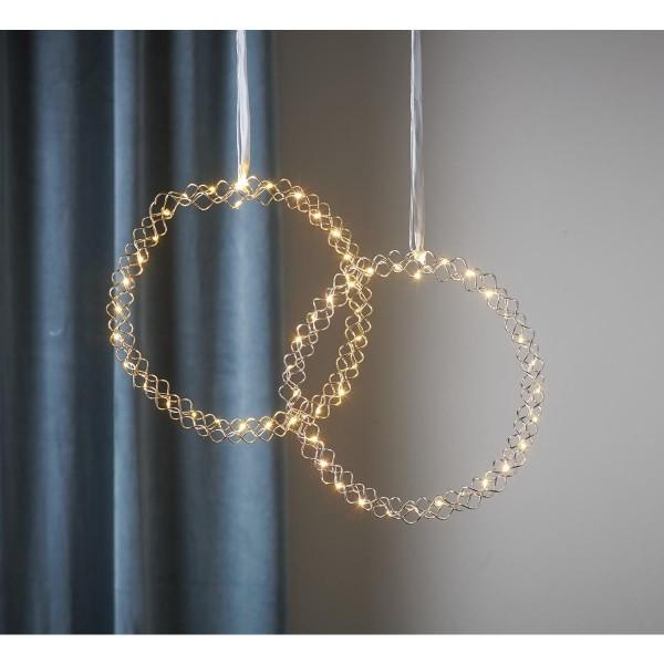 """LED Kranz """"Hoop"""" - 30 warmweiße LED - D: 30cm - Material: Metall - Batteriebetrieb - Timer - silber"""