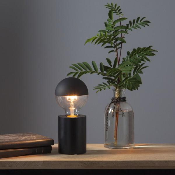 Lampenhalterung TUB - Tischleuchte - E27 - H: 10cm - stehend - Kabel mit Schalter - Holz - schwarz