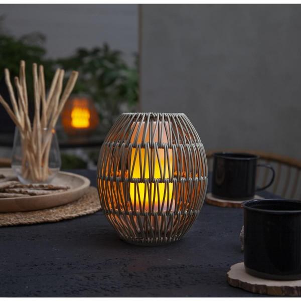 Dekoleuchte/Lampenschirm aus Rattan - D: 15cm, H: 18cm - für E27 Fassungen - outdoor - beige