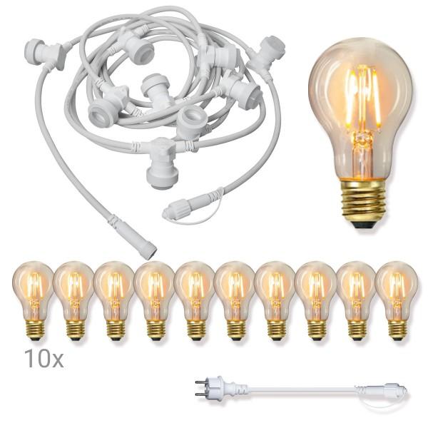 Komplettset CONNECTA WHITE - Lichterkette 7,35m+5m Zuleitung - 10 x Edison Leuchtmittel - IP44