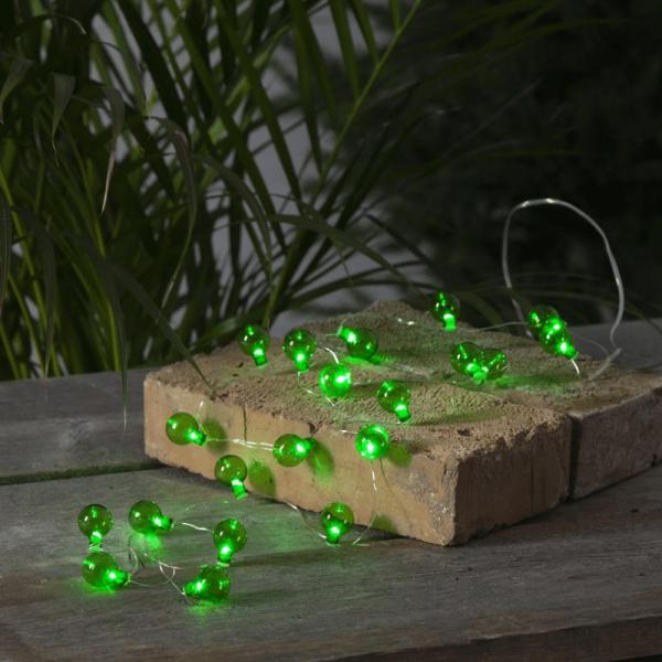 """LED-Lichterkette """"Mini Glow"""" - 20 kleine grüne Birnen - warmweiße LEDs - 1,6m - Batterie - outdoor"""