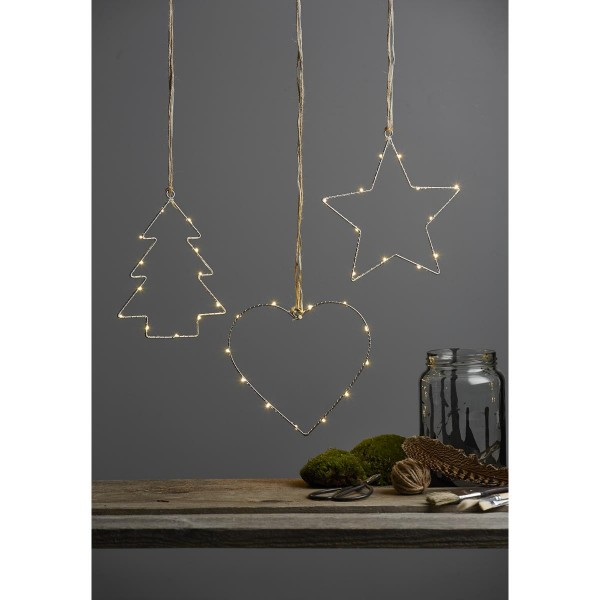 """LED-Leuchtstern """"Drahtstern"""" - 12 warmweiße LED - H: 21cm - Material: Metall"""