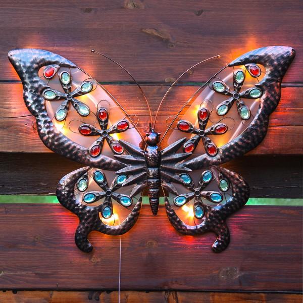 LED Solar Wanddeko Schmetterling - 12 warmweiße LED - H: 50cm - Dämmerungssensor - 2 Funktionen