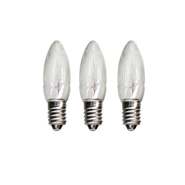 Leuchtmittel | Ersatz für 16er Kerzenkette | E10 | 14V | 3W | Warmweiß | 3er Set