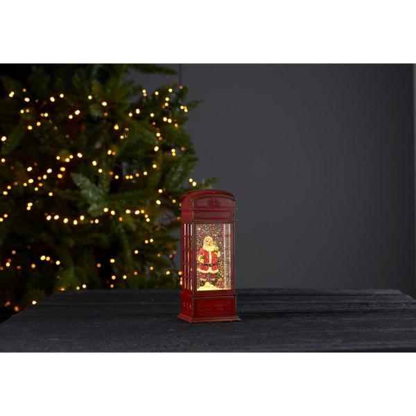 """LED Laterne """"Winter"""" - Telefonzelle mit Weihnachtsmann - glitzernde Flocken - H: 22cm - Batterie"""