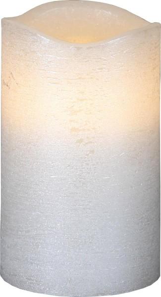 LED-Kerze | Echtwachs | Presse-Design | Flamme als Schalter | flackernde LED | Timer | Weiß | →7.5cm | ↑12,5cm