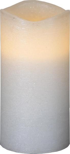 LED-Kerze | Echtwachs | Presse-Design | Flamme als Schalter | flackernde LED | Timer | Weiß | →7.5cm | ↑15cm
