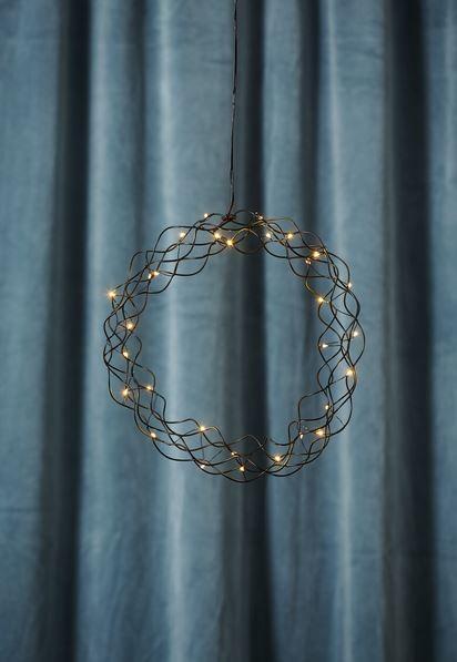 "LED-Kranz ""Curly"" - 30 warmweiße LED - D: 30cm - Material: Metall - schwarz"