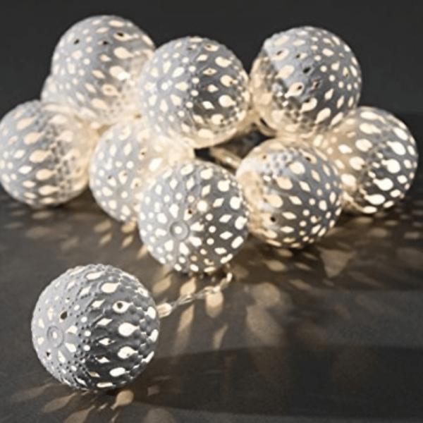 LED Dekolichterkette - 10 warmweiße LED - Ø 4cm - L: 0,9m - Batteriebetrieb - transp. Kabel - weiß