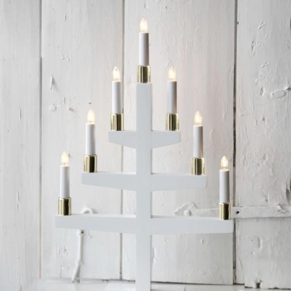 """Kerzenleuchter """"Trapp"""" - 7 Arme - warmweiße Glühlampen - H: 54cm, L: 34cm - Schalter - Weiß"""