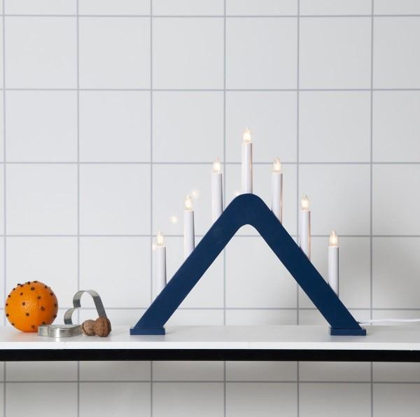 Fensterleuchter JARVE - 7 warmweiße Birnchen - L: 41cm, H: 36cm - Schalter - Blau