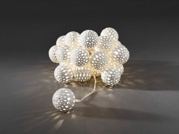 LED-Dekolichterkette - 3,00m - 24x Warmweiß - Ø 4cm - Weiß - transparentes Kabel
