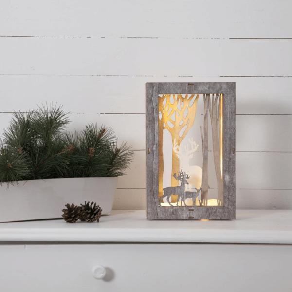 "LED-Deko-Bild ""Fauna"" - Rentiere - 10 warmweiße LED - H. 28cm, L: 18cm - Batteriebetrieb - braun"