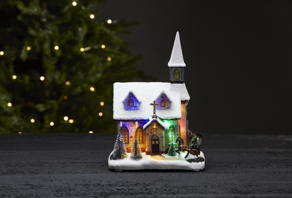 """LED-Kirche """"Chapel"""" - 11 RGB LEDs - bunt - ↑27cm"""