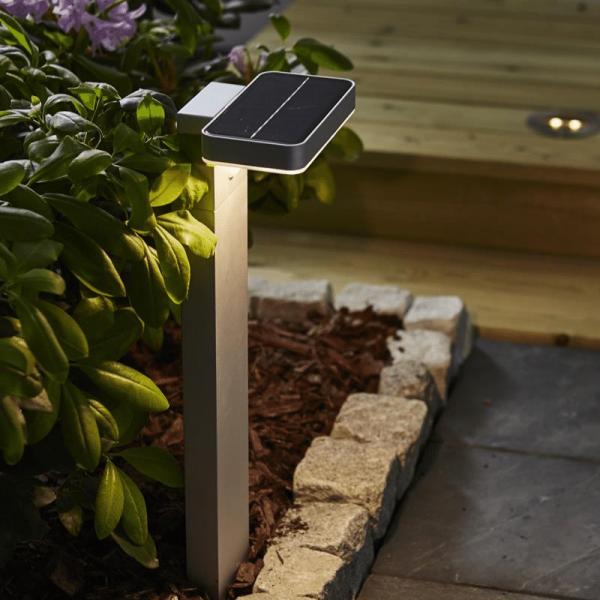 "LED Solar Wegleuchte ""Malta"" - Bewegung- & Dämmerungssensor - 9 warmweiße LED - H: 60cm - lichtgrau"