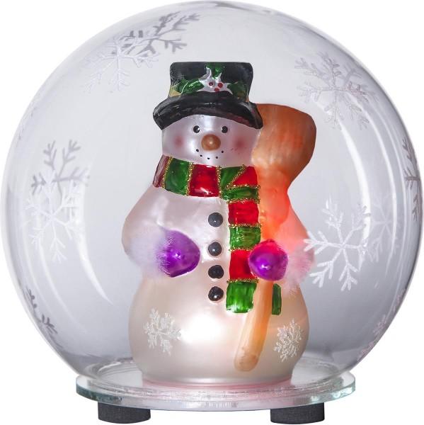 "LED-Deko-Kugel ""Bubble"" Schneemann - Farbwechsel - D: 12cm, H: 13,5cm - Batterie"