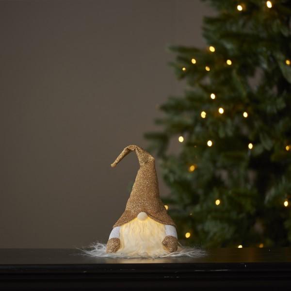 LED Stoff Wichtel mit Mütze - Weihnachtsmann - 1 warmweiße LED - H: 28cm - inkl. Batterie - gold